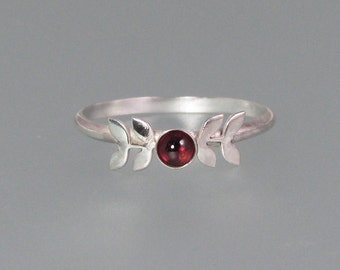 Laurel leaf ring - sterling silver garnet ring - artisan nature inspired ring - January birthstone - elven woodland ring - botanical ring