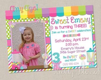 Candy Birthday Invitation, Sweet Shoppe Invitation, Candyland Party, Sweet Shop Birthday, Candy Shop Party Invitation Printable DIY Birthday