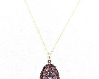 Victorian Bohemian Garnet Pendant, Antique Garnet Pendant