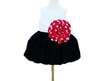 Flower Girl Dress - With Large Handmade Flower - Red Polka Dots - EyeLid Top -  - Wedding - Girls Dress - Birthday - KK Children Designs
