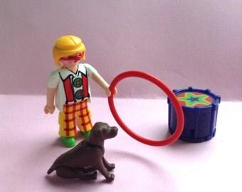 Playmobil Geobra Clown Circus Set, set of 4, toy clown, Playmobil dog, vintage toys, original, collectible, Greece