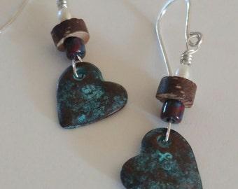 Aged copper heart earrings, freshwater pearl earrings, burgundy czech and wood heart earrings