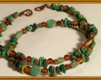 Turquoise pebbled and amber necklace