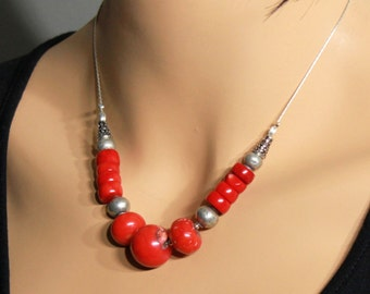 Red Bamboo Coral Necklace, Sterling Silver, fine original statement necklace, bold, chunky, modern, red gemstone, gift for her