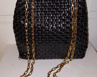 LJS COLLECTION WOVEN Purse // 70's Vintage Black Woven Leather Patent Gold Chain 80's Preppy Funeral
