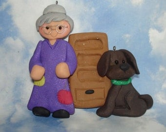 Mother Hubbard Dog Christmas Ornament Cupboard Bone Handcrafted Polymer Clay Milestone Cake Topper Nursery Rhyme  FairyTale Puppy Walker 1st