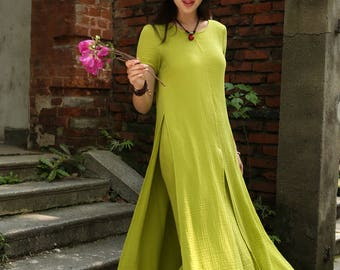 Green Layered Cotton Linen Dress , Loose-fitting Short Sleeved Side Pockets Long Maxi Dress Plus-size Clothing