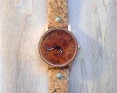 CORK WATCH, wrist watch, vegan leather watch, turquoise & fire opal (synth) Boho watch,  gift for men and women, cork style watch, unisex