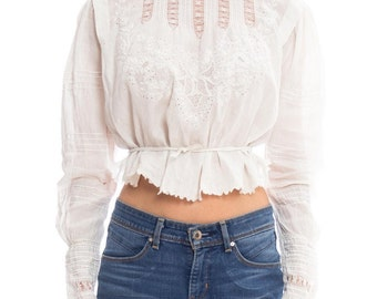 Victorian Lace Embroidered Top Size: S