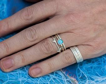 Opal Ring, Silver Stack Rings, Crown Ring, Dainty Rings, Simple Rings, October Birthstone, Gemstone Rings, Set of Three, Engagement Rings
