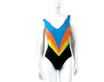 Black Maillot with Neon Chevron Stripes 1 pc Bathing Suit Vintage Swimsuit Old Store Dead Stock by Rose Marie Reid Size 12 #59