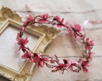Cherry Blossom Flower Crown, Pink Flower Crown, Summer Hair Crown, Cherry Blossom Hair Crown, Pink Bridal Crown