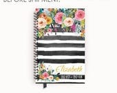 Personalized Planner 2017 - 2018 Calendar Agenda with Watercolor Floral on Black Stripes
