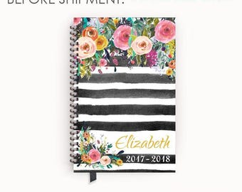 Various Layouts Personalized Planner 2017 - 2018 Calendar Agenda with Watercolor Floral on Black Stripes