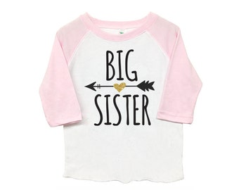 Big Sister Poly Cotton 3/4 Raglan Sleeve Baseball Shirt - Baby, Toddler or Kid Shirt