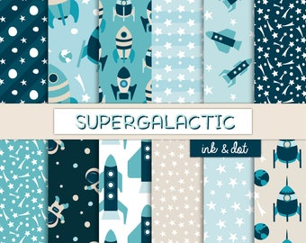 Supergalactic Digital Paper - Rockets, Planets, Stars, Astronauts, Spaceship - Blue, Universe, Outer Space, Moon, Boy - Instant Download
