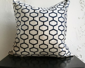 Navy Blue Geometric Pillow Cover, 18x18 Decorative Pillow Cover, Embroidered Linen Pillow, Handmade Pillow