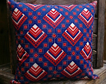 Blue & Red Retso African Cushion by Afrocentric805, African Inpsired Home Decor, African Interior Design, African Homewares