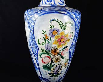 """Mother's Day - Delft Blue, Hand Painted, Signed, Special Order Floor Vase, 17"""" tall, Floral and Dutch Scenes, 1976"""