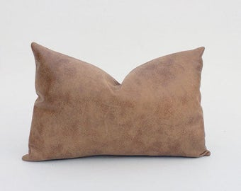Tanned | Aged Decorative Faux Leather Pillow Cover