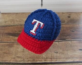 Baby Boy Baseball cap - Baseball Cap - Texas Rangers Baby Boy Hat - Baby boy clothes, Newborn outfit - Coming Home Outfit , crochet hats