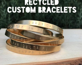 "Recycled Custom ""Your Text Here"" Handstamped Cuff Bracelets"