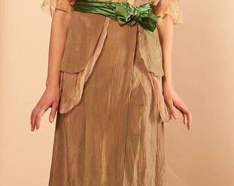 1910s silk chiffon mesh and lace dress rare and gorgeous