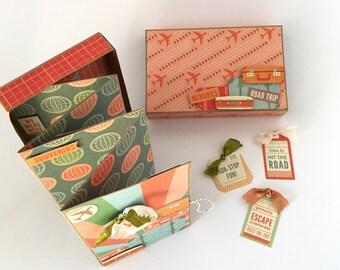 Travel Mini Album, Vacation photo box, Matchbox Scrapbook, Family Memories, World travel, Journey, Destination Unknown Memory Box
