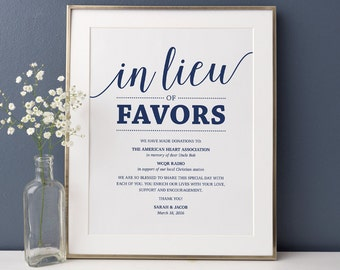 In Lieu of Favors Sign, Wedding Donation Sign // Navy Wedding Sign Printable, Favor Donation // Editable Wedding Sign, Instant Download