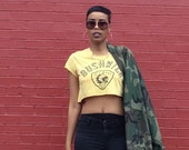 80's Vintage Reworked Yellow Indian Head Bushwick Cropped Tee