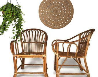 Vintage Bamboo Chairs Franco Albini Style PAIR Rattan Arm Chairs Set Mid  Century Bamboo Chair Pair