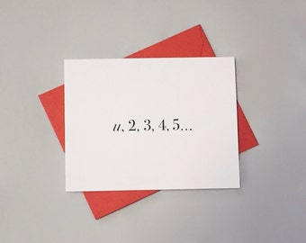 You Are My Number One Math Card / Anniversary Card / I Love You Card / Valentine's Day / Positively Awesome Card / Love Equation