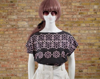 miss daisy embroidered boxy top / swiss top / boxy short sleeve / statement blouse / floral top / boatneck top / embroidered blouse