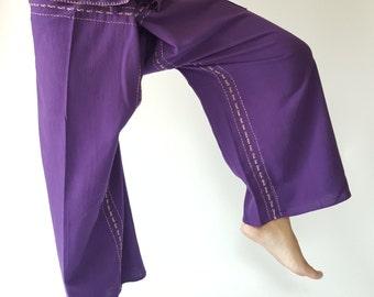 F80025 Purple Handmade Thai Fisherman Pants Wide Leg pants, Wrap pants, Unisex pants