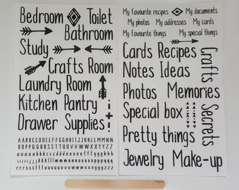 Set of 2 Rub-On Transfers Sheets – Rub On Sticker Sheets – Quotes Words Alphabet