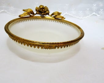 Vintage Frosted Glass Vanity Dish with a Gold Filigree Rim, Accented with a Gold Rose, Marked 403 H