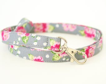 Gray, Pink, and Gold Floral Fabric Lanyard with Swivel Clasp - Key Lanyard - ID Strap - 19.5 Inch Drop - Teacher Lanyard - Cute Lanyard