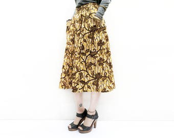 Mustard African Midi, Elegant African Skirt, Floral African Skirt, Floral Midi Skirt, Ankara Skirt, Unique African Fall Skirt / XS S M M+ L