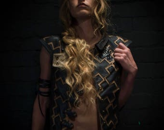 Women's Swasti Geometry Patchwork Leather Vest