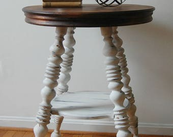 Round Table With Spindle Legs | Table Painted White With Stained Top |  White Accent Table