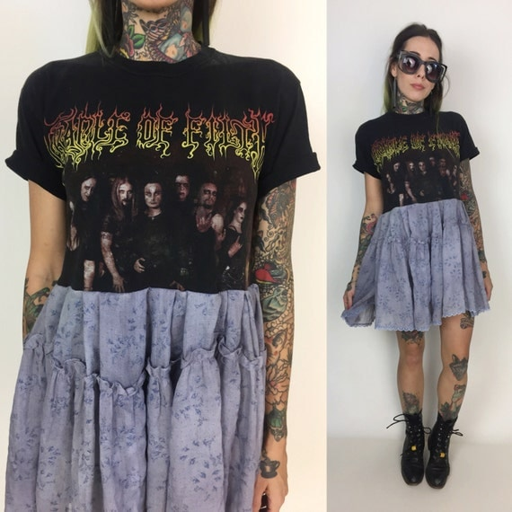 The Lunar Eclipse Lace Dress - Cradle Of Filth Band Tee Shirt Dress Upcycled Band Tee - Nu Metal Band Shirt Dress - Metal Goth Upcycled Tee