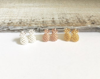 Pineapple Earrings, Gold Pineapple Earrings, Sterling Silver Pineapple Earrings, Stand Tall, Wear a Crown and be sweet inside