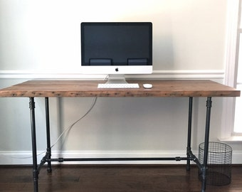 """The """"Fairway"""" Desk - Reclaimed Wood Desk - Reclaimed Wood & Steel Pipe - Reclaimed Wood"""