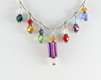 Sterling Silver Beaded Multi Color Necklace 16 inch Chain