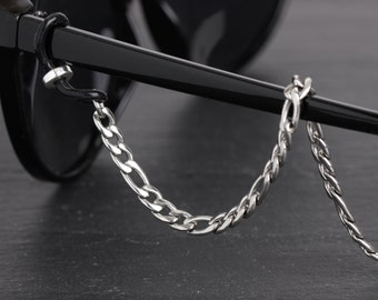 Stainless Steel Glasses Chain, Chain to hold glasses, Men's Eyeglass Chain in Silver, Stainless Steel Lanyard, Mens Eyeglass Holder Chain