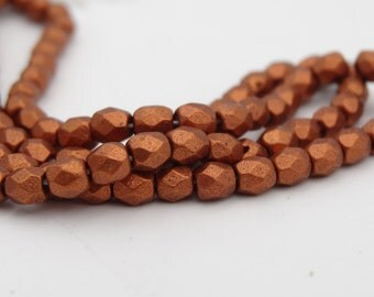 Czech Glass 3mm Fire Polished Silky Copper  50 Pieces