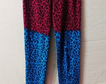 Leopard leggings red and blue