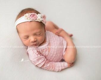 CHARLOTTE, NEWBORN ROMPER, Romper Set, Newborn Outfit, Newborn Rompers, Rosette Headband, Photo Props, Photography Prop, Newborn Prop
