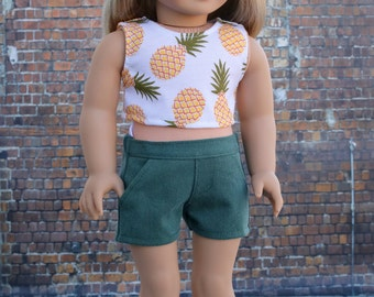 18 Inch Girl Doll Clothes | Dark Olive Green Twill SHORTS for dolls