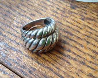 Sterling Triple Rope ring , size 7.5